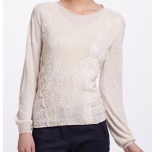 Anthro Angel of the North Ivory Lace Sweater